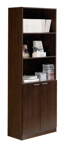 Stillo Wenge Tall Wide Bookcase With Doors - 2488
